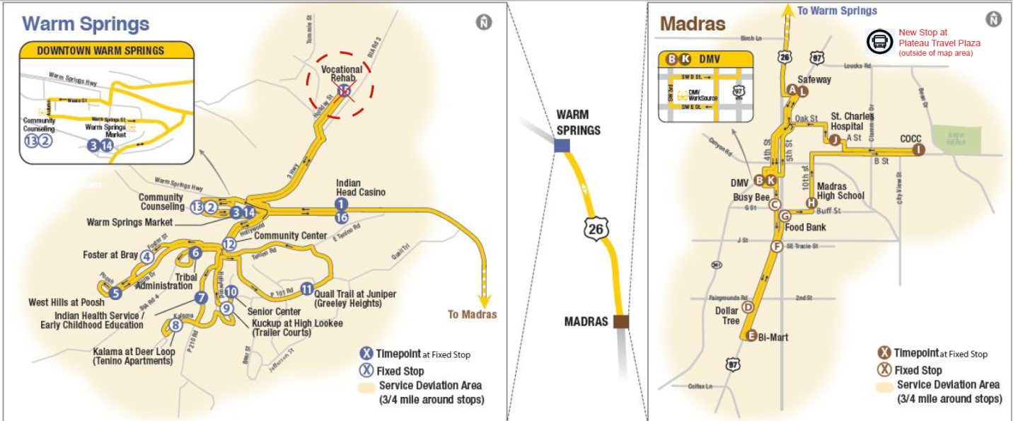 Service Update For Route 20 Warm Springs To Madras Cascades East