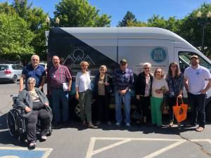 This is a photo of CET and Council on Aging with seniors on a field trip using the Ride Bend microtransit service