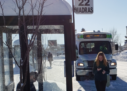 Hawthorne Bus Stop during snow