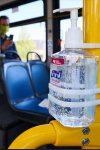 photo of hand sanitizer on bus