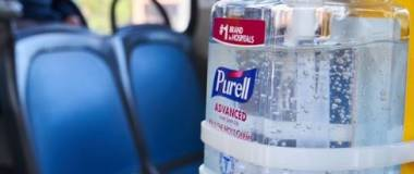 photo of hand sanitizer in bus