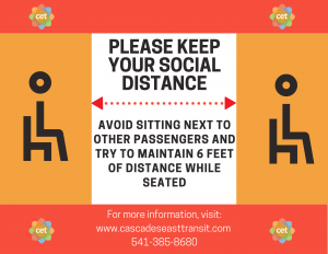 keep 6 feet between you and other passengers to maintain social distance.