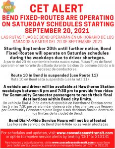 Saturday Schedule Notice